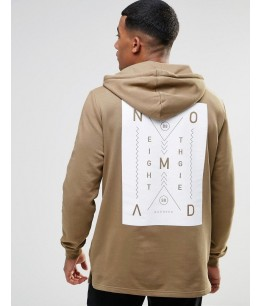 Hoodie With Nomad Chest & Back Print