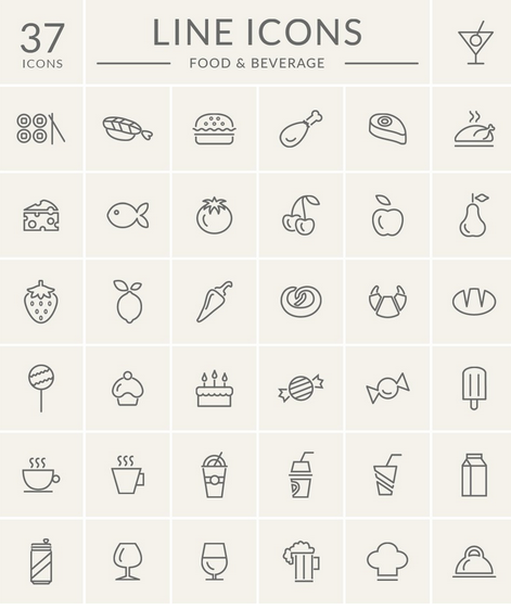 Food And Beverage Line Icon Set