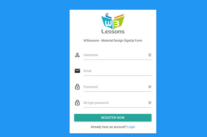Login & SignUp form using Material Design and jQuery