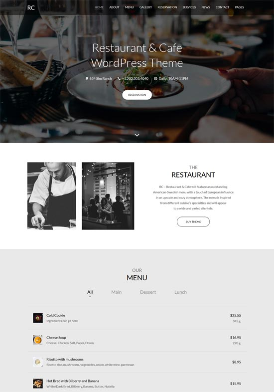 Rc – Restaurant & Cafe Onepage
