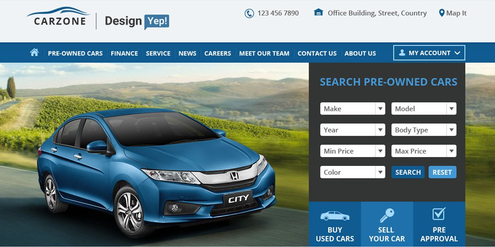 Car Zone – Free Car Dealer Web Template PSD