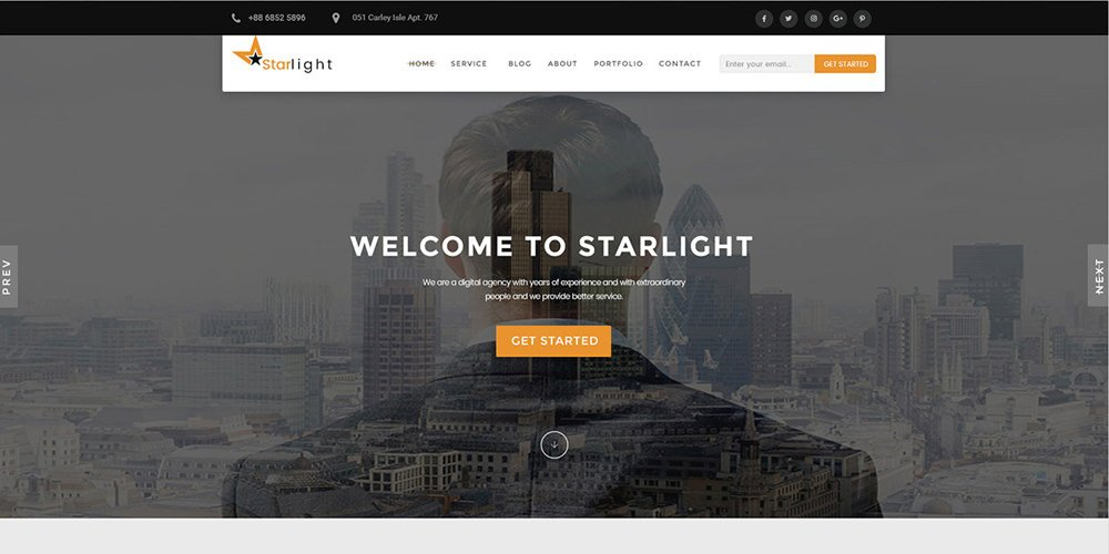 Starlight – Free Corporate Portfolio Template PSD